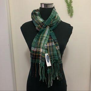 Old Navy PlaidGreen EarthyTone Flannel FringeScarf